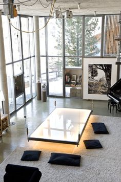 ♂ Contemporary living room space interior design - interesting floating light table in a high ceiling space.