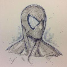 Spider-Man sketch by Alvin Lee Spiderman Drawing, Spiderman Kunst, Marvel Drawings, Art Drawings, Comic Books Art, Comic Art, Character Art, Character Design, Comic Kunst