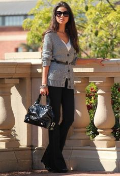 Casual Outfit Idea. Do with black skinnies instead of trousers for more casual look.
