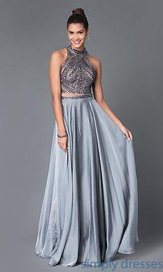 Dresses, Formal, Prom Dresses, Evening Wear: Long Open Back High Neck Two Piece Dress E1940