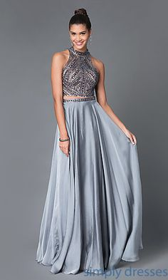 Dresses, Formal, Prom Dresses, Evening Wear: Long Open Back High Neck Two Piece Dress E1940