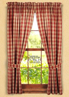 new country wine burgundy sage green tan plaid curtain window