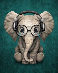Cute Baby Elephant Dj Wearing Headphones and Glasses on Blue. This adorable baby elephant illustration, is available on many products. Baby Animals, Funny Animals, Cute Animals, Image Elephant, Cute Baby Elephant, Funny Elephant, Cartoon Elephant, Baby Elephant Drawing, Baby Animal Drawings