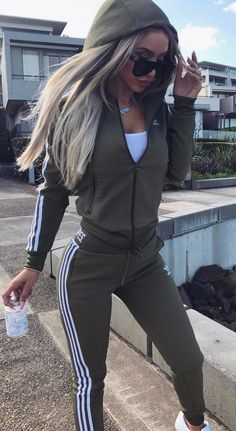 workout style olive green tracksuit