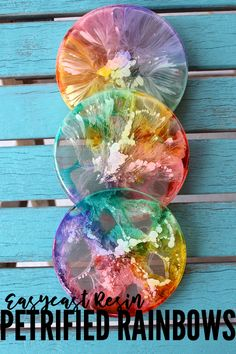 Make amazing petrified rainbow coasters using EasyCast resin and colored alcohol inks. via Make amazing petrified rainbow coasters using EasyCast resin and colored alcohol inks. Diy Resin Crafts, Crafts To Sell, Fun Crafts, Diy And Crafts, Crafts For Kids, Kids Diy, Stick Crafts, Sell Diy, Decor Crafts