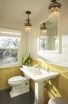 How about white on the walls, yellow tile and grey accents?