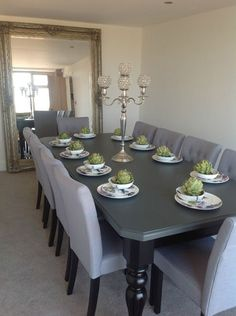 8-10 seater Large Dining table, High gloss black + painted top,made to 24 places | eBay