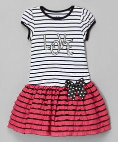 Fuchsia Stripe 'Love' Drop-Waist Dress - Infant, Toddler & Girls #zulily #zulilyfinds