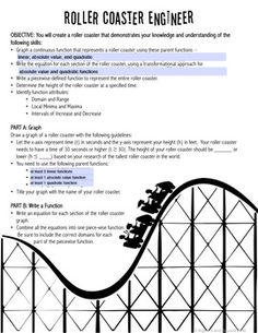 piecewise functions project roller coaster knowledge and parents. Black Bedroom Furniture Sets. Home Design Ideas