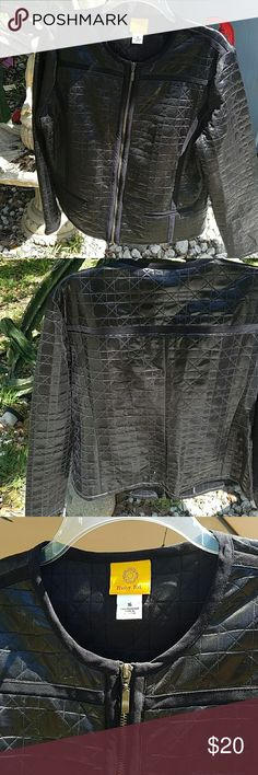 Ruby  Rd. Lightweight  Jacket Ruby Rd lightweight jacket size 16 a hundred percent polyester. With velvet black trim on jacket , comes with two front pockets. Looks like it's made from a quilted print material but very lightweight. Has never been worn but remove tags because I was going to wear it but changed my mind. Has a front zipper to zip up. The material has a shiny look to it which can be worn dressed up or dressed down. Comes from a smoke-free and pet-free home. Ruby Rd Jackets…