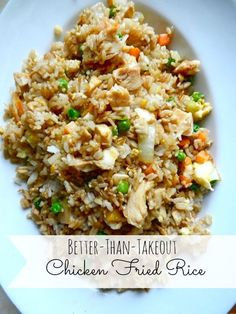 Better-Than-Takeout Chicken Fried Rice Ingredients 4 cups rice, prepared 1/2 pound boneless, skinless chicken breasts, cooked (I recommend using Slow Cooker Teriyaki Chicken!) 1 cup peas & carrots, frozen 1 small white onion, chopped 2 cloves garlic, minced 2 eggs 3 tablespoons sesame oil 1/4 cup soy sauce