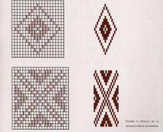 Resultado de imagen para diseños de tejidos a telar mapuche Seed Bead Patterns, Weaving Patterns, Mosaic Designs, Geometric Designs, Peyote Stitch, Cross Stitch, Inkle Weaving, Tear, Mug Rugs