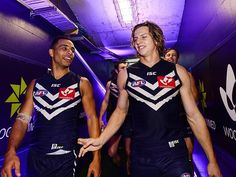 Nat Fyfe celebrates the win and his match with Danyle Pearce. Photo by Daniel Carso Melbourne, Football, Club, Celebrities, Soccer, Celebs, American Football, Foreign Celebrities, Soccer Ball