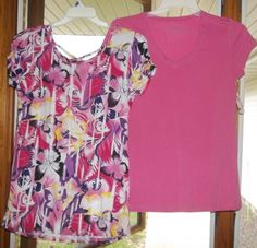 NEW LOT OF 2 JUNIORS  PLUS SIZE 2X STRETCH T SHIRTS TOPS 1 PURPLE MULTI 1 PINK #CantMissLoveLove2 #BasicTee