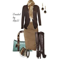 """""""Fall Work"""" by dlp22 on Polyvore.  I could never rock these boots at work, but they are cute though."""