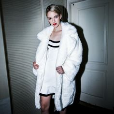 Casual White Open Front Fur Coat from Yellow Bird Clothing. Saved to S W E A T E R/ J A C K E T S/ C O A T S.