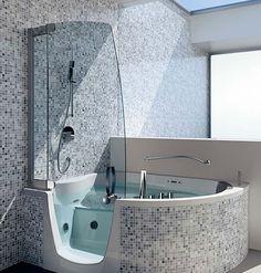 Bathroom, Bathroom: Amazing Tub Shower Combo, Corner Whirlpools By Teuco Over Corner Bathtub 7: Cool Bathroom Design with Beautiful Corner ...