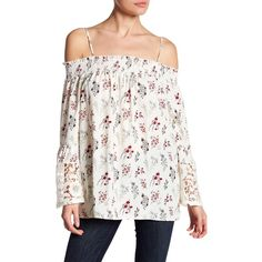 Pleione Off-the-Shoulder Lace Bell Sleeve Blouse ($33) ❤ liked on Polyvore featuring tops, blouses, ivy ditsy floral, floral off the shoulder top, long blouse, off shoulder blouse, white blouses and white off the shoulder top