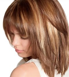 Medium length haircut with bangs