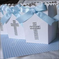 Boys Baptism Or Communion Rhinestone Cross Popcorn Favor Box, Candy Holder