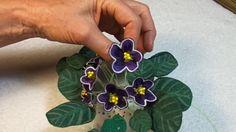 Dark Purple African Violet With White Edges. In the Hoop. Flower making. Make African Violets, Embroidershoppe.embroidershoppe,com Applique Designs, Machine Embroidery Designs, African Violet, Design Patterns, Violets, Video Tutorials, Flower Making, Dark Purple, Cousins