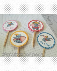 Dumbo Baby Shower, It's a boy, It's a girl Dumbo birthday cupcake toppers customizable by MyKraftygoodness