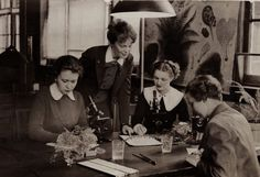 Vintage photo of young ladies in Medical School.