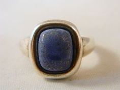 Vintage Sterling Silver and Lapis Lazuli Ring / Mod 70s Rectangular Large Blue and Gold Lapis Lazuli Gemstone Ring Size 9.5 by VintageBaublesnBits on Etsy
