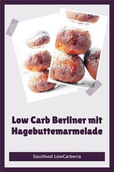 Endlich leckere Berliner ohne Kohlenhydrate #lowcarb #keto #lowcarbkrapfen #lowcarbberliner #lowcarbpfannkuchen. Egal wie du sie nennen magst, endlich gibt es sie bei uns im Shop! Es ist ein lecker, lockerer Lower Carb Hefeteig gefüllt mit LowCarb Hagebuttemarmelade: Glutenfrei, ohne Zucker, ohne Mehl! Jetzt erhältlich: www.soulfood-lowcarberia.de Low Carb Restaurants, Snacks, Lchf, Donuts, Brownies, French Toast, Breakfast, Food, Gluten Free Cooking