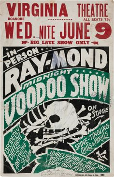 Voodoo Show Theatrical Poster c. 1950s