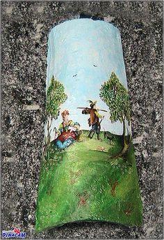 Teja realizada con papel decoupage, pasta relieve y pintura. www.manualidadespinacam.com #manualidades #pinacam #tejas #barro