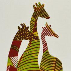Giraffe card 3 giraffes in African print fabric by Colourshotcards