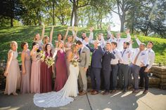 Burgundy and Dusty Mauve Marsala Bridesmaids - Gray and Navy Groomsmen -  Lace Wedding Dress
