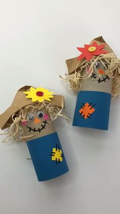 ADORABLE TP Roll Scarecrow Craft for kids! How cute are these? Make them for fall . - Holidays and occasions - ADORABLE TP Roll Scarecrow Craft for kids! How cute are these? Make them for fall …, # - Thanksgiving Crafts, Easter Crafts, Holiday Crafts, Fall Paper Crafts, Fabric Crafts, Toddler Crafts, Preschool Crafts, Kids Crafts, Wood Crafts