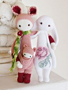 KIRA the kangaroo and RITA the rabbit made by Lella / crochet patterns by lalylala
