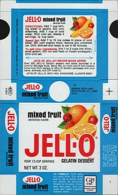General Foods Jell-O Mixed Fruit Gelatin Dessert box file flat - May 3 1971