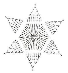 Crochet Snowflake + Free Pattern Step By Step + Diagram Crochet Tree, Crochet Stars, Thread Crochet, Love Crochet, Crochet Flowers, Crochet Stitches, Crochet Diagram, Crochet Motif, Crochet Designs