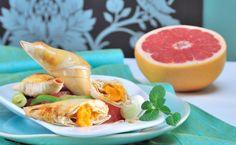 Süßkartoffeltascherln auf Jungzwiebeln und Grapefruit