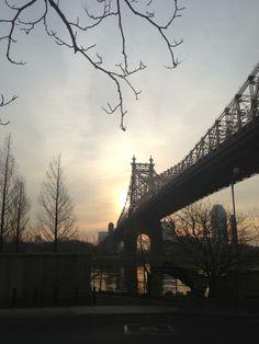 January hazy sunrise. Roosevelt Island New York