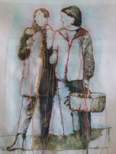 Pilze sammeln / Mushrooming - Rita Zepf, Textil Kunst: verstoffte Bilder