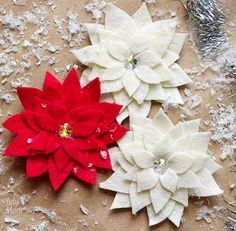 Red Burlap And Felt Poinsettia Christmas Pillow Cover