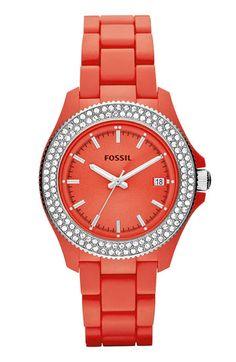Fossil 'Retro Traveler' Crystal Bezel Bracelet Watch available at #Nordstrom