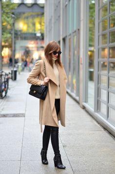 H&M Studio Collection knit Balenciaga leggings Mango Camel coat Givenchy boots  Chanel bag