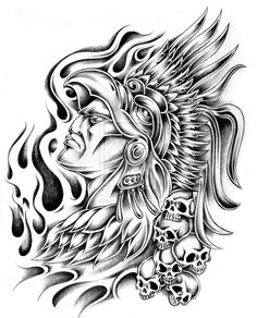 The Aztec Warrior Tattoo Designs picture that we bring bellow, was a spectacular and also innovative design. The entire design mixture was s. Aztec Tattoo Designs, Unique Tattoo Designs, Design Tattoo, Aztec Designs, Unique Tattoos, Cool Tattoos, Aztec Warrior Tattoo, Chicano Art Tattoos, Aztec Culture