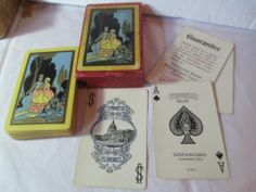 Antique Playing Cards Congress 606 Linen Vintage Gold Threads Edges Complete | eBay