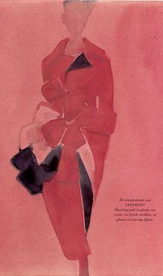 Fashion Illustration by Mats Gustafson (b. 1951), Yamamoto.