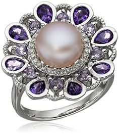 Sterling Silver Freshwater Cultured Pearl with Mix Amethyst and Diamond Accent Ring (1/10cttw), Size 7 Review