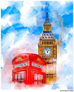Big Ben and a red phone box by Mark E. Tisdale