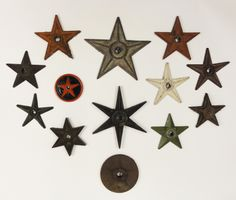Antique Cast Iron Building Stars A collection of 13 antique 19th century cast iron architectural building stars.