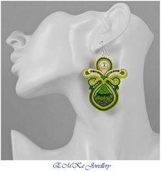 Very light hand made soutache earrings Green Secret